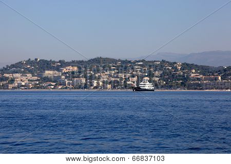 Motorboat Crusing In The Mediterranean Sea, French Riviera, Cannes, France