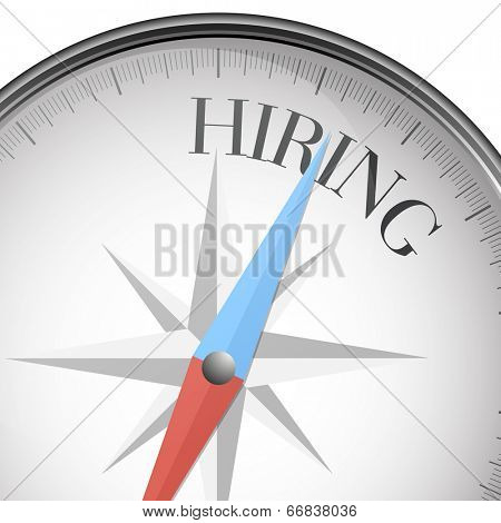 detailed illustration of a compass with hiring text, eps10 vector