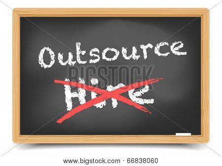 detailed illustration of hire and outsource options on a blackboard, eps10 vector, gradient mesh included