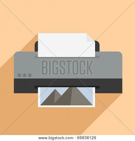 minimalistic illustration of a printer, eps10 vector