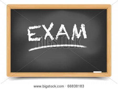 detailed illustration of a blackboard with exam text, eps10 vector, gradient mesh included