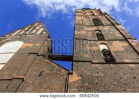 Wideangle, Distorted Photo Of St. Elisabeth's Church, Wroclaw, Poland