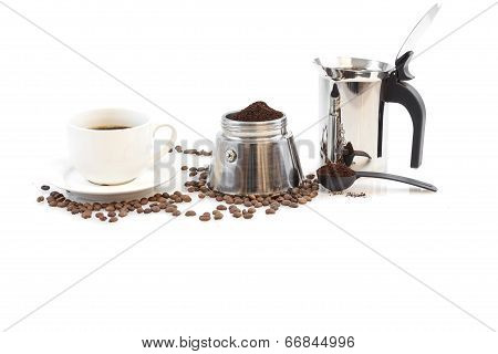 Coffee maker percolator, beans and coffee