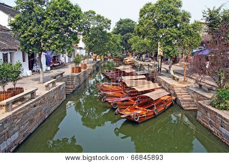 Landscape Of Tongli Watertown With Traditional Boats And Old Houses