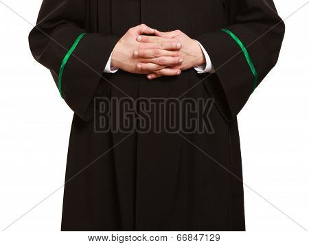 Law. Hands Of Man Lawyer Attorney In Polish Gown