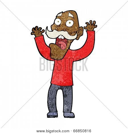 cartoon old man getting a fright