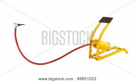 Yellow Foot Air Pump Isolated On White Background