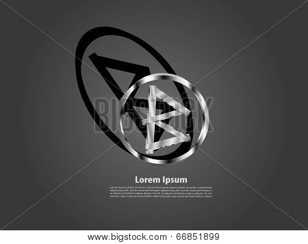 Abstract logo in letter B design with circle and rectangle icon symbol in Meta color.