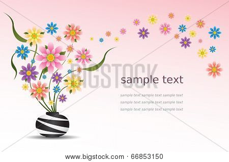 Colorful Flowers In Vase Vector