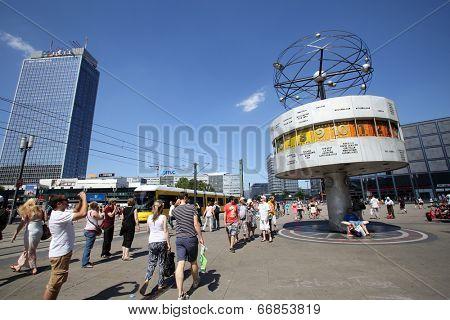 BERLIN, GERMANY - JUNE 11, 2014: A general view of AlexanderPlatz in  Berlin, Germany, on Saturday, June 11, 2014