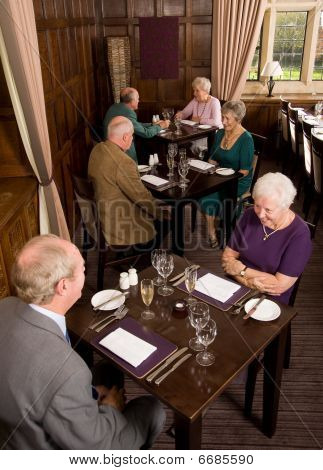 Older Couples In Restaurant