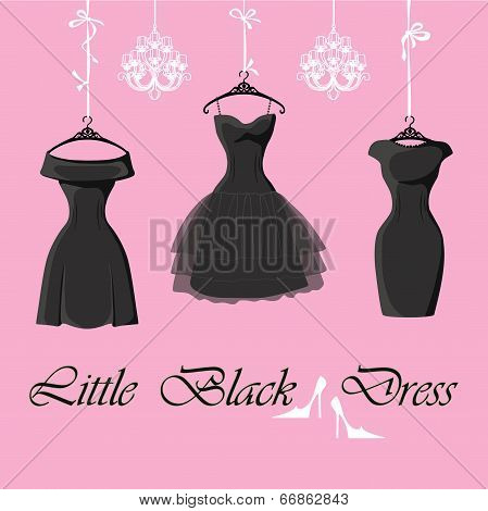 Set Of  Three Little Black Dresses Hang On Ribbons