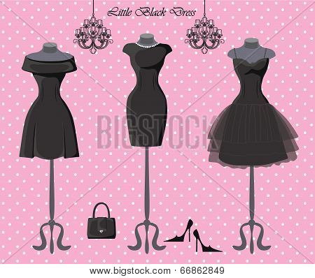 Set Of  Three Little Black Dresses