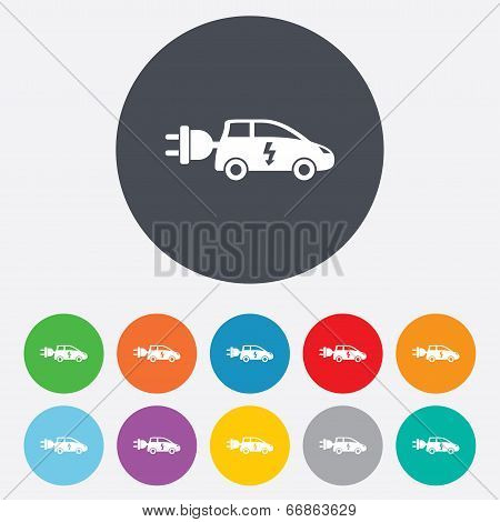 Electric car sign icon. Hatchback symbol.