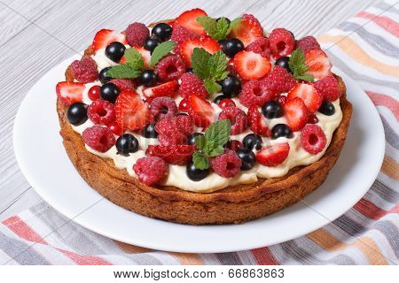 Berry Tart With Strawberries, Raspberries, Currants, Mint