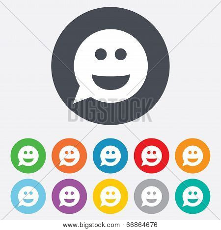 Smile face sign icon. Smiley symbol.