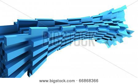 Abstract blue dynamic brick isolated design element 3d illustration