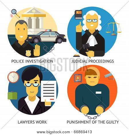 Justice Law and Order Legal Services Symbol Crime Punishment  Social Responsibility Icons Set Isolat