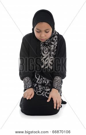 Young Muslim Girl Praying