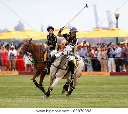 JERSEY CITY, NJ-MAY 31: Hilario Figueras (L) and Nacho Figueras in action during the polo match at the 7th Annual Veuve Cliquot Polo Classic at Liberty State Park on May 31, 2014 in Jersey City, NJ.