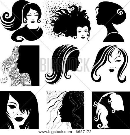 Vector set of closeup silhouette portrait of beautiful woman