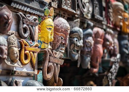Souvenir Masks At Nepal Market