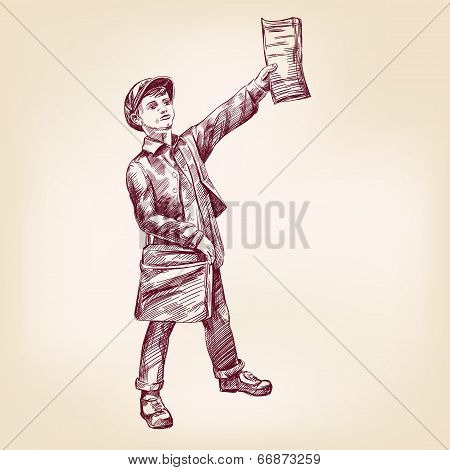 Paperboy selling news papers hand drawn vector llustration