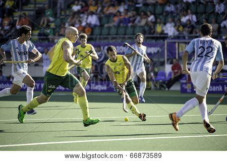 THE HAGUE, NETHERLANDS - JUNE 13: Australian player Dwyer playing the ball during the semi-finals of the world championships hockey 2014. AUS wins 5-1