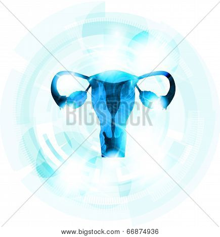 Abstract Blue Color Female Uterus