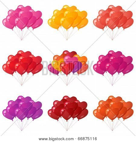 Balloons hearts bunches, set