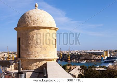 VALLETTA, MALTA - MAY 7 2014 : A sentry turret looks out over the Grand Harbour.