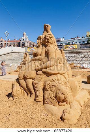 Samara, Russia - June 7, 2014: Beautiful Sculpture Made From The Sand During Sand Sculpture Festival