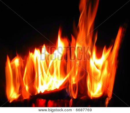 large flames with color and heat