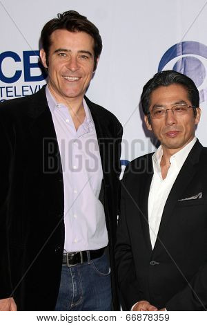 LOS ANGELES - MAY 19:  Goran Visnjic, Hiroyuki Sanada at the CBS Summer Soiree at the London Hotel on May 19, 2014 in West Hollywood, CA