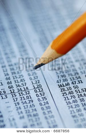 Check out the stock prices with a pencil