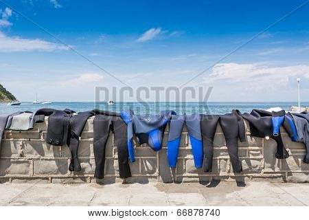 Diving Suits Drying On A Brick Wall