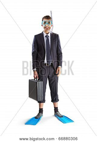 Diving Happy Businessman
