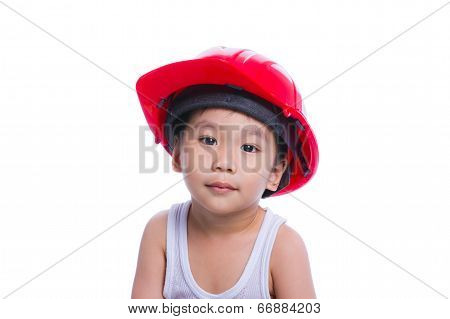 Boy In A White Singlet Wearing Red Helmet