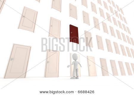 3d man and multiple doors