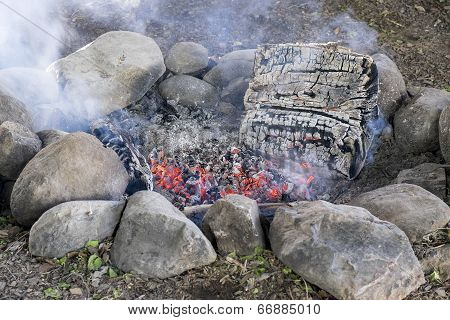 Fire Pit with Glowing Embers