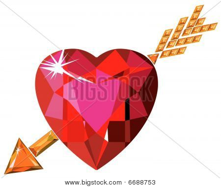 Red ruby heart struck by Cupid arrow