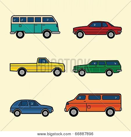 Line Style Color Vector Cars Set