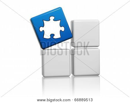 Blue Cube With Puzzle Piece Symbol On Boxes