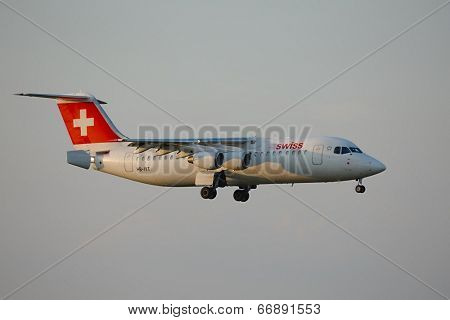 BUDAPEST, HUNGARY - APRIL 7: Swiss airliner approaching Budapest Liszt Ferenc Airport, April 7th 2014. Swiss International Air Lines is Switzerland's flag carrier airline.