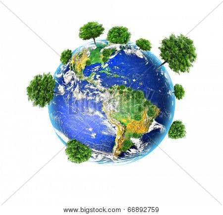 Earth with the different elements on its surface. Environmental Concept. Best Internet Concept of global business from concepts series