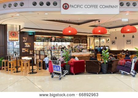 HONG KONG - APRIL 01: Costa Coffee cafe in airport on April 01, 2014 in Hong Kong, China. Costa Coffee is a British multinational coffeehouse company headquartered in Dunstable, United Kingdom.