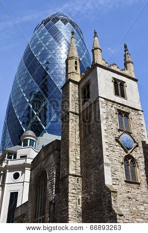 St Andrew Undershaft Church And The Gherkin In London