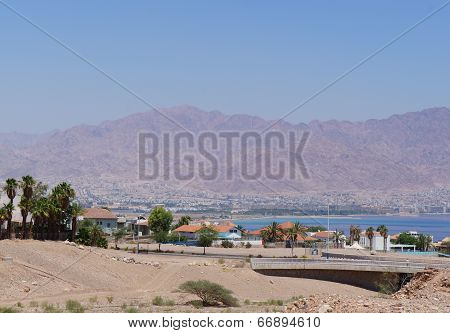 View to the Eilat gulf and Aqaba