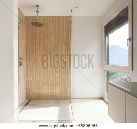 nice modern bathroom, marble walls, shower view
