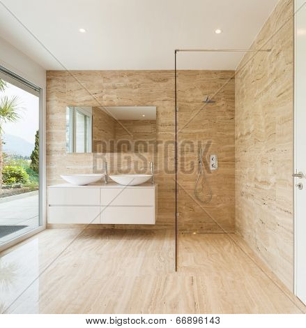 nice modern bathroom, marble walls